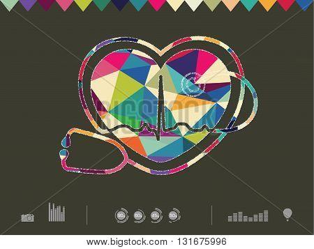 vector illustration of colorful heart om dark background