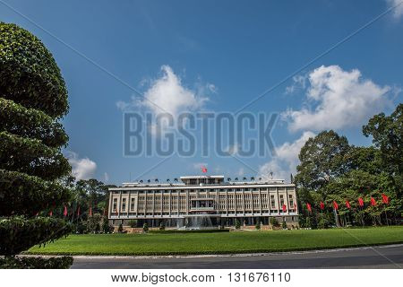 Image of the famous Independence Palace or Reunification Palace in Ho Chi Minh City. It is built on the site of Norodom Palace and is a popular tourist attraction.