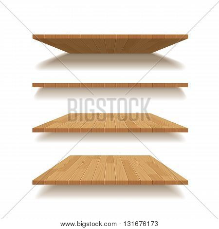 vector empty wooden shelf isolated background for web and print