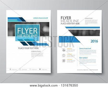 blue annual report brochure flyer flat design template