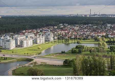 A distant view of Trinity District and Island of Tears in Minsk. The river Svislasch is also seen flowing by the side of the small village. It is the most eminent and oldest suburb in Minsk, also known as Trinity Balnieu.