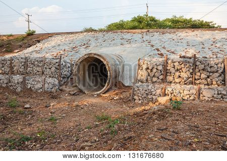 dry mouth sewer pipe in the field