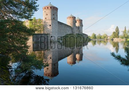 Summer morning at the ancient fortress of Olavinlinna. Savonlinna, Finland