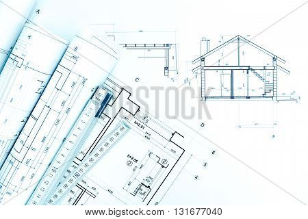 Architectural Technical Drawings With House Plans And Folding Rule