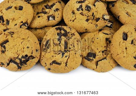 close up on Chocolate cookies isolated on white background