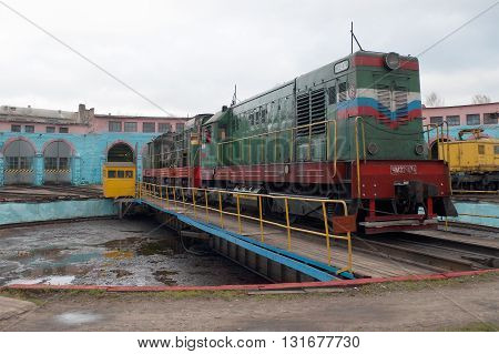 SHARYA, RUSSIA - OCTOBER 10, 2012: Shunting diesel CHME2 in locomotive depot. Station Sharjah Northern Railway