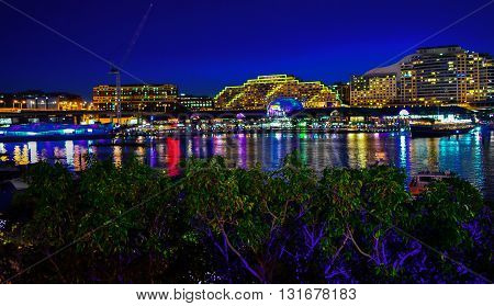Amazing Darling Harbour decorated in the Vivid Sydney Light Festival