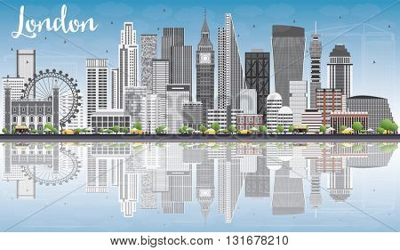 London Skyline with Gray Buildings, Blue Sky and Reflections. Business Travel and Tourism Concept with Modern Buildings. Image for Presentation Banner Placard and Web Site.
