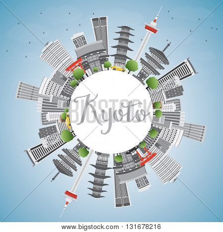 Kyoto Skyline with Gray Landmarks, Blue Sky and Copy Space. Business Travel or Tourism Concept with Modern and Historic Buildings. Image for Presentation Banner Placard and Web.