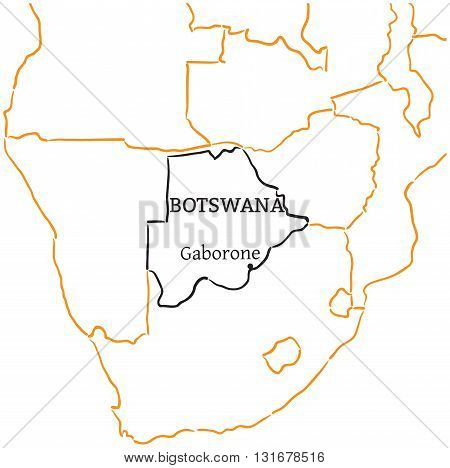 Botswana country with its capital Gaborone in Africa hand-drawn sketch map isolated on white