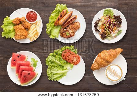 Food Set Fried Chicken And Chips, Bbq Meat And Sausage, Salad, Watermelon, Empty Plate, And Coffee O