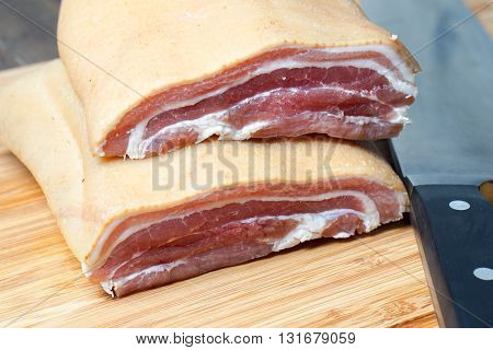 Raw Bacon pork belly ready for cooking and frying