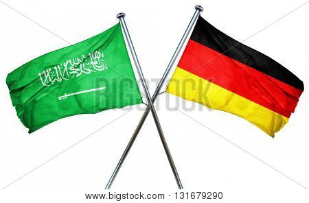 Saudi Arabia flag combined with germany flag, 3D rendering
