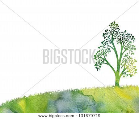 silhouette of birch tree with leaves at grass drawing in watercolor, artistic hand painting nature background, hand drawn illustration