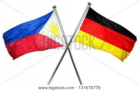 Philippines flag combined with germany flag, 3D rendering