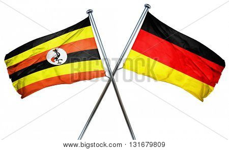 Uganda flag  combined with germany flag, 3D rendering