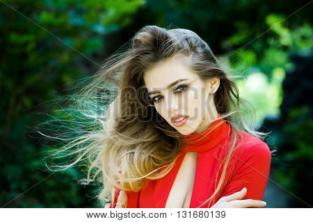 Sexy Young Woman With Long Hair