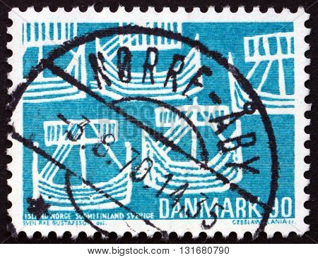 DENMARK - CIRCA 1969: a stamp printed in Denmark shows Five Ancient Ships Nordic Cooperation circa 1969