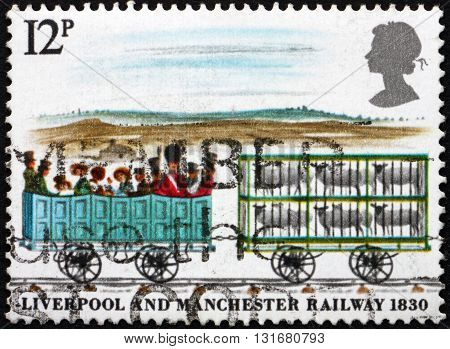 GREAT BRITAIN - CIRCA 1980: a stamp printed in the Great Britain shows 3rd Class and Sheep Cars Liverpool-Manchester Railroad 150th Anniversary circa 1980