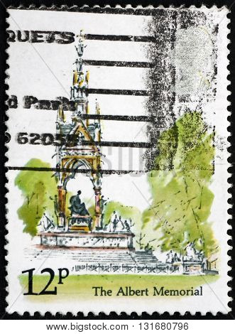 GREAT BRITAIN - CIRCA 1980: a stamp printed in the Great Britain shows Albert Memorial Kensington Gardens London circa 1980