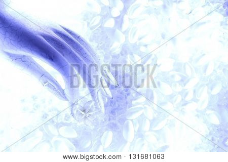 BEAUTIFUL ABSTRACT ROMANTIC TOP VIEW IMAGE OF A HAND , ON A SEA SHELL BACKGROUND , BEAUTIFUL PASTEL COLORS