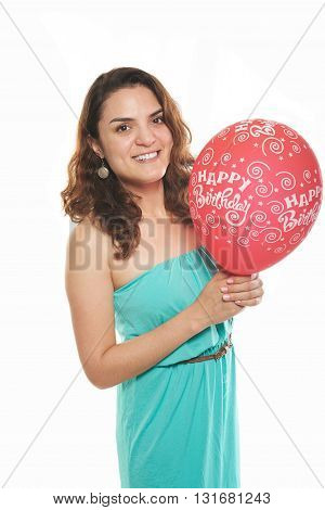 Latin Girl Red Balloon