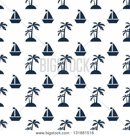 Palms and ships, Seamless vacation pattern on white background, vector illustration