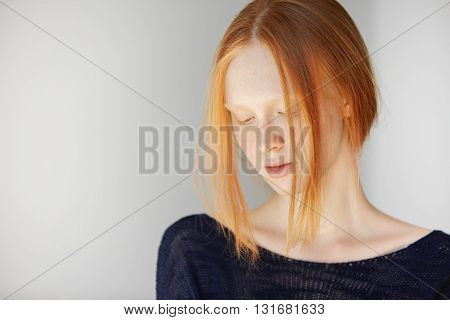 Style, Hairstyle And Fashion Concept. Pretty Student Girl With Fresh And Clean Skin With Freckles, L