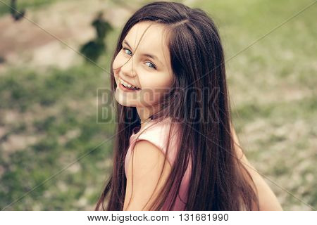 Little Smiling Girl Outdoor