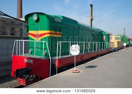 SAINT PETERSBURG, RUSSIA - MARCH 30, 2016: Shunting diesel locomotive CHME3 on the railway. Historical landmark