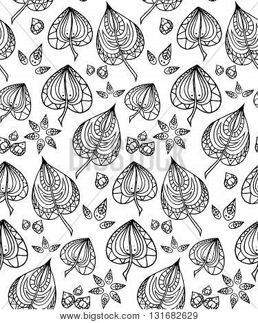 Seamless texture with black and white doodle leaves with zentangle pattern. Vector background for your design.