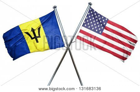 Barbados flag with american flag, isolated on white background