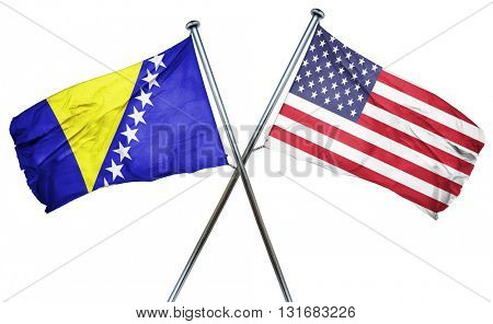 Bosnia and Herzegovina flag with american flag, isolated on whit