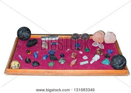Collection of various semi-precious stones crystal gemstones in various colors and sizes.