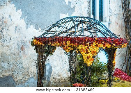 Floral Decoration On Garden House