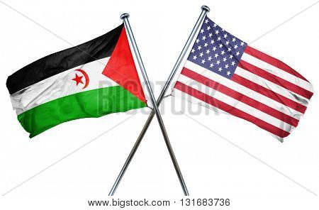Western sahara flag with american flag, isolated on white backgr