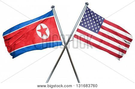 North Korea flag with american flag, isolated on white backgroun