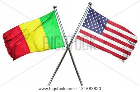 Mali flag with american flag, isolated on white background