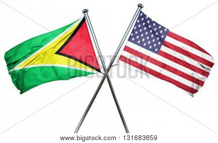Guyana flag with american flag, isolated on white background
