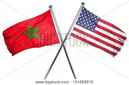 Morocco flag with american flag, isolated on white background