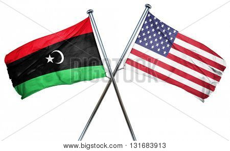 Libya flag with american flag, isolated on white background