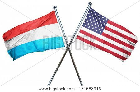 Luxembourg flag with american flag, isolated on white background