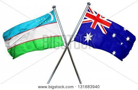 Uzbekistan flag  combined with australian flag