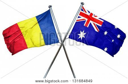 Romania flag  combined with australian flag