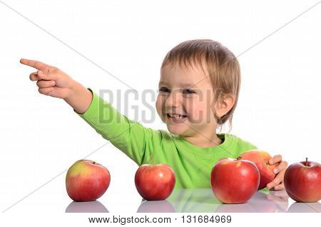 Cute Child With Red Apples On White Background