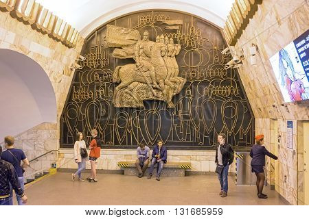 St Petersburg Russia - May 26 2016: Ploshchad Alexandra Nevskogo (Saint Petersburg Metro). The transition between the stations in which the relief panel