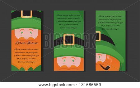 et templates with illustration of Leprechaun with a pipe on St. Patrick's Day. Vector element for the invitation, a brochure and your design