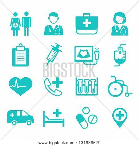 Medical flat Icons, medical logo for web, app, user interface (UI). Vector illustration isolated on white background