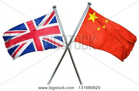 Great britain flag  combined with china flag