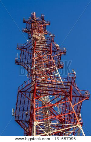 cell Antenna building communication and blue sky.